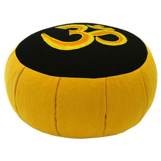 Meditační polštář Zafu yellow s výšivkou